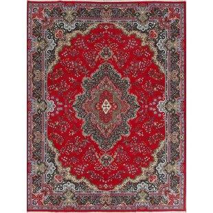Affordable Price Berrier Soft Plush Floral Kerman Persian Red/Black Area Rug ByWorld Menagerie