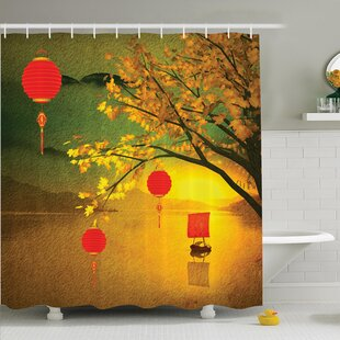 Check Prices Jody Chinese Lanterns Festive Shower Curtain Set By Bloomsbury Market