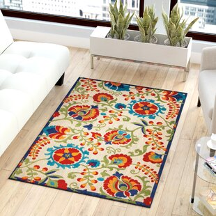 Lahaina Donohoe Power Loom Ivory/Red/Green Indoor/Outdoor Rug By Latitude Vive