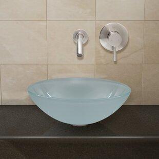 VIGO Frost Glass Circular Vessel Bathroom Sink with Faucet