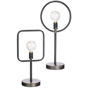 Wrought Studio Zenobia Circle & Square LED Light Lanterns 2 Piece Table Lamp Set