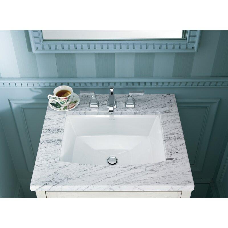 Archer Ceramic Rectangular Undermount Bathroom Sink With Overflow