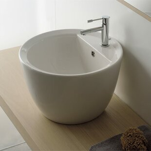 Compare Matty Ceramic Circular Vessel Bathroom Sink with Overflow By Scarabeo by Nameeks