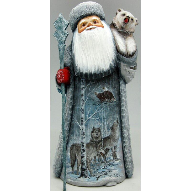 G Debrekht Masterpiece Signature Wolf Santa Woodcarved Figurine Wayfair