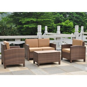 Katzer Resin Wicker/Aluminum Patio 4 Piece Lounge Seating Group With Cushion