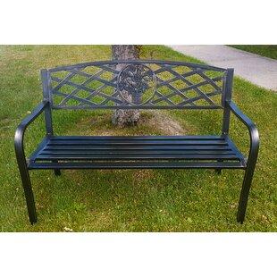 August Grove O'Toole Criss-Cross Backrest Metal Garden Bench