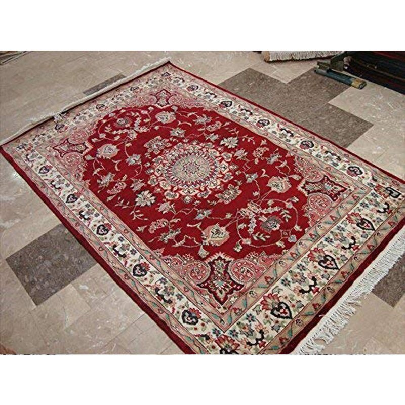 Darby Home Co Oriental Hand Knotted 4 1 X 6 Wool Silk Red Area Rug