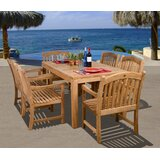 Aracely International Home Outdoor 7 Piece Teak Dining Set
