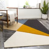 Salvator Handmade Tufted Wool Saffron/Black Area Rug