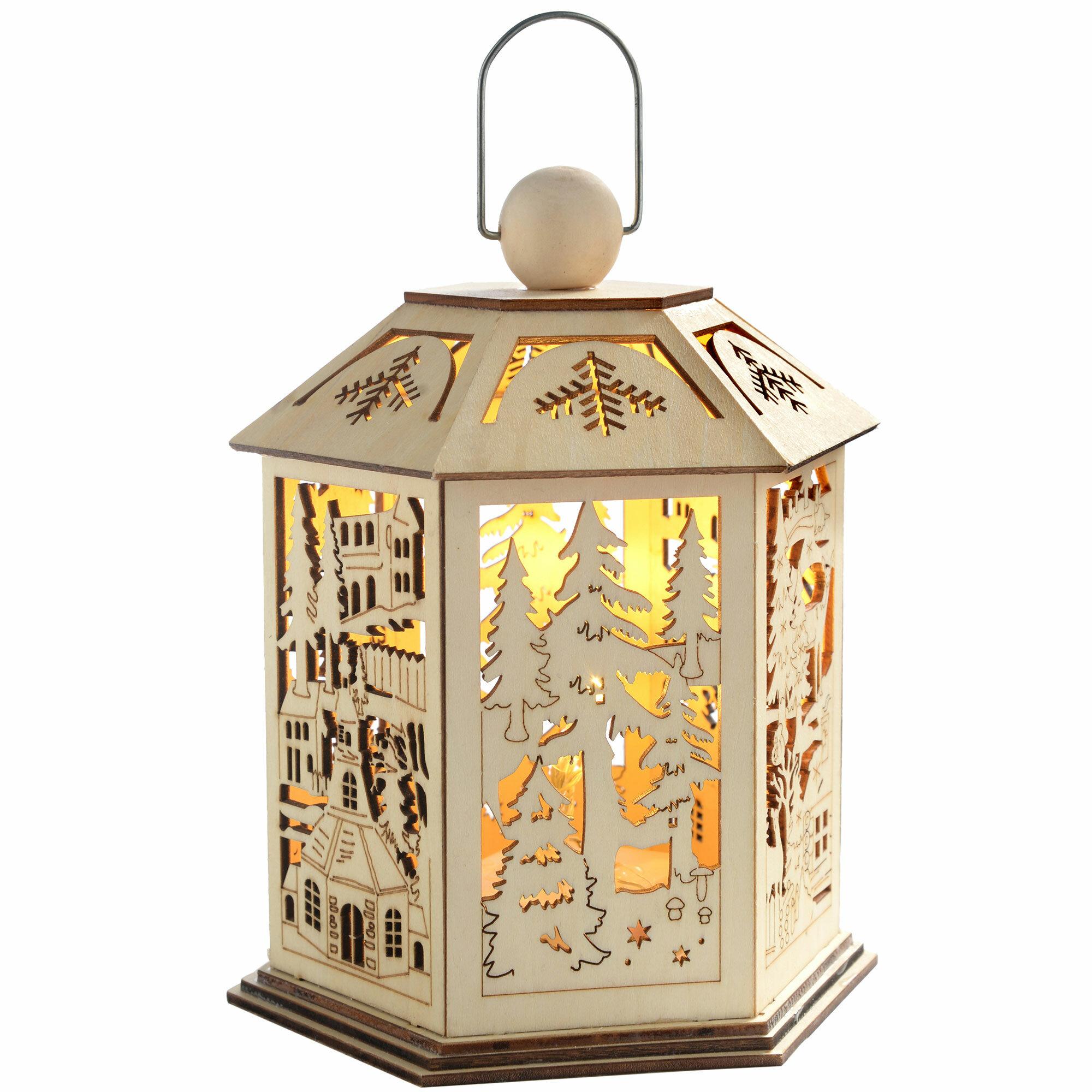 The Seasonal Aisle Christmas Pre Lit Wooden Decoration 3 Light