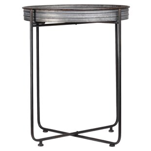 Rosaria Metal Round Tray Table by Gracie Oaks Purchase