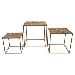 Affordable Helmick Wood and Metal 3 Piece Nesting Tables by Latitude Run