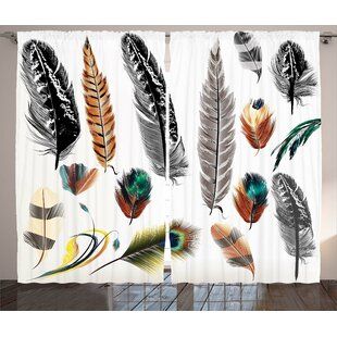 Big and Small Feather Decor Graphic Print Room Darkening Rod Pocket Curtain Panels (Set of 2) by East Urban Home