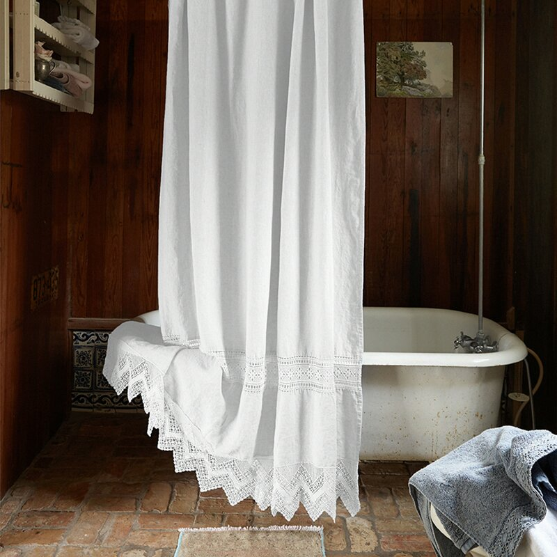 Cluny Lace Linen Shower Curtain
