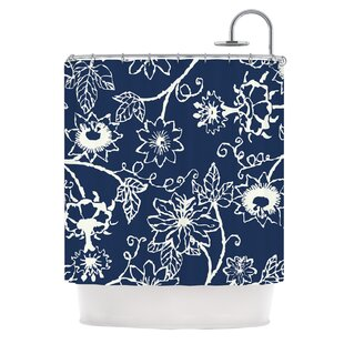 Passion Flower by Laura Nicholson Floral Single Shower Curtain