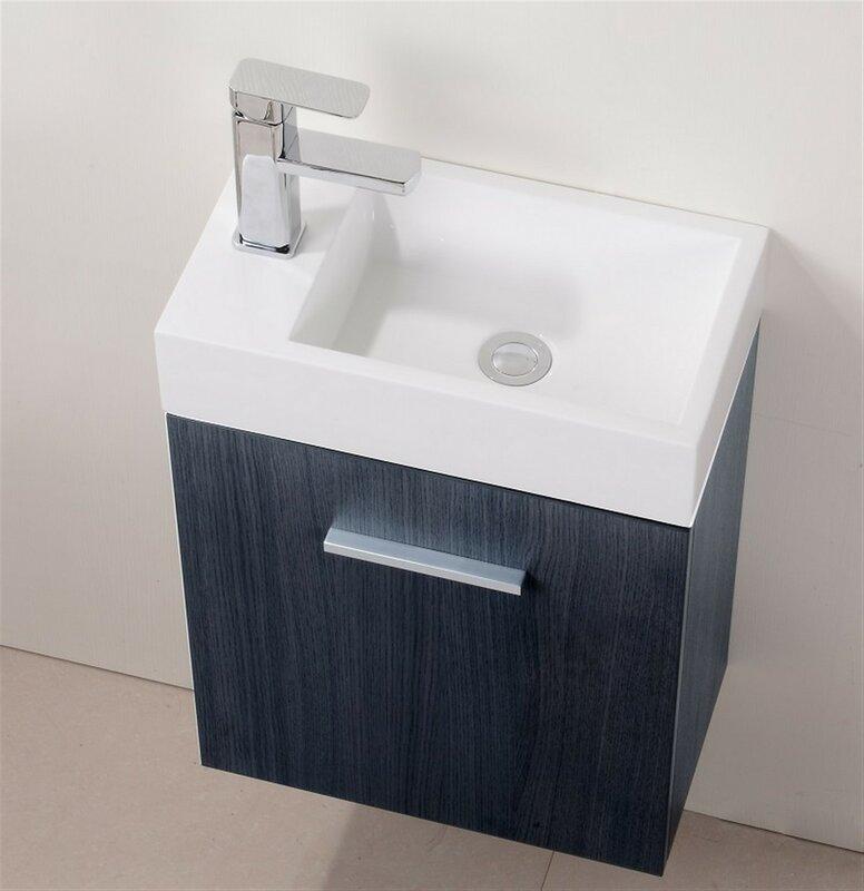 """Modern Bathroom Vanities On Sale wade logan tenafly 18"""" single wall mount modern bathroom vanity"""