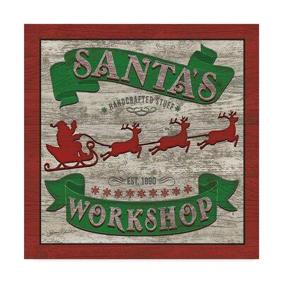 "Santas Workshop' Vintage Advertisement on Wrapped Canvas The Holiday Aisle® Size: 35"""" H x 35"""" W x 2"""" D -  928725C3652445F4920CFA8FB8527DD7"