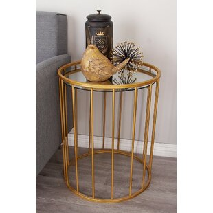 Metal and Mirror 3 Piece End Tables