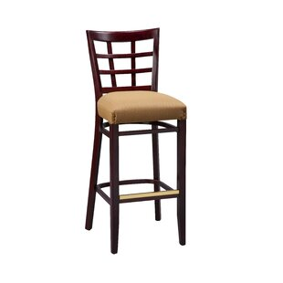 Amoroso Beechwood Lattice Back Fully Upholstered Seat Bar Stool Red Barrel Studio
