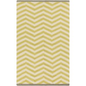 Chevron Chatreuse Hand Hooked Outdoor Area Rug