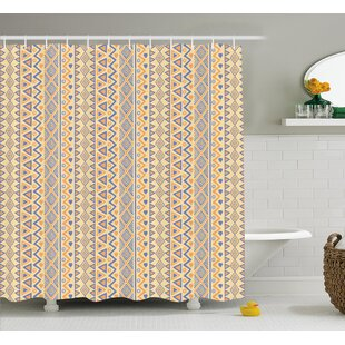 Cyrano Stripes Native American Shower Curtain + Hooks by Bungalow Rose Purchase