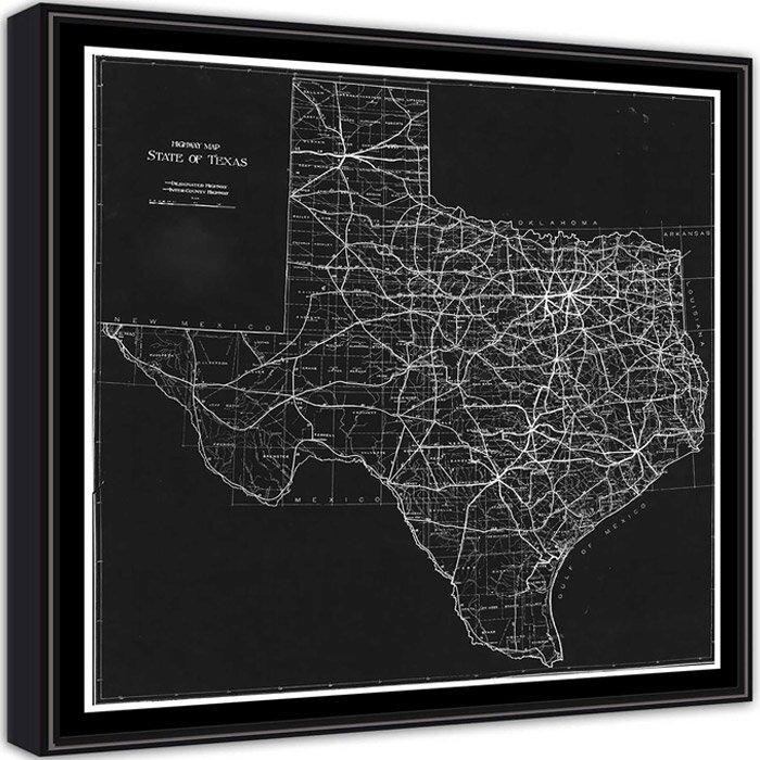 Ptm Texas Map Framed Graphic Art Wayfair