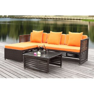Eulalia 3 Piece Rattan Sectional Seating Group with Cushions