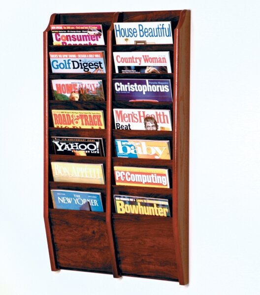 Wall Hanging Magazine Rack wooden mallet 14 pocket wall mount magazine rack & reviews | wayfair