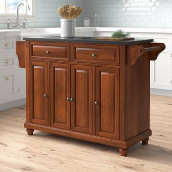 Alcott Hill Libby Top Storage Kitchen Cart With Granite Top Wayfair