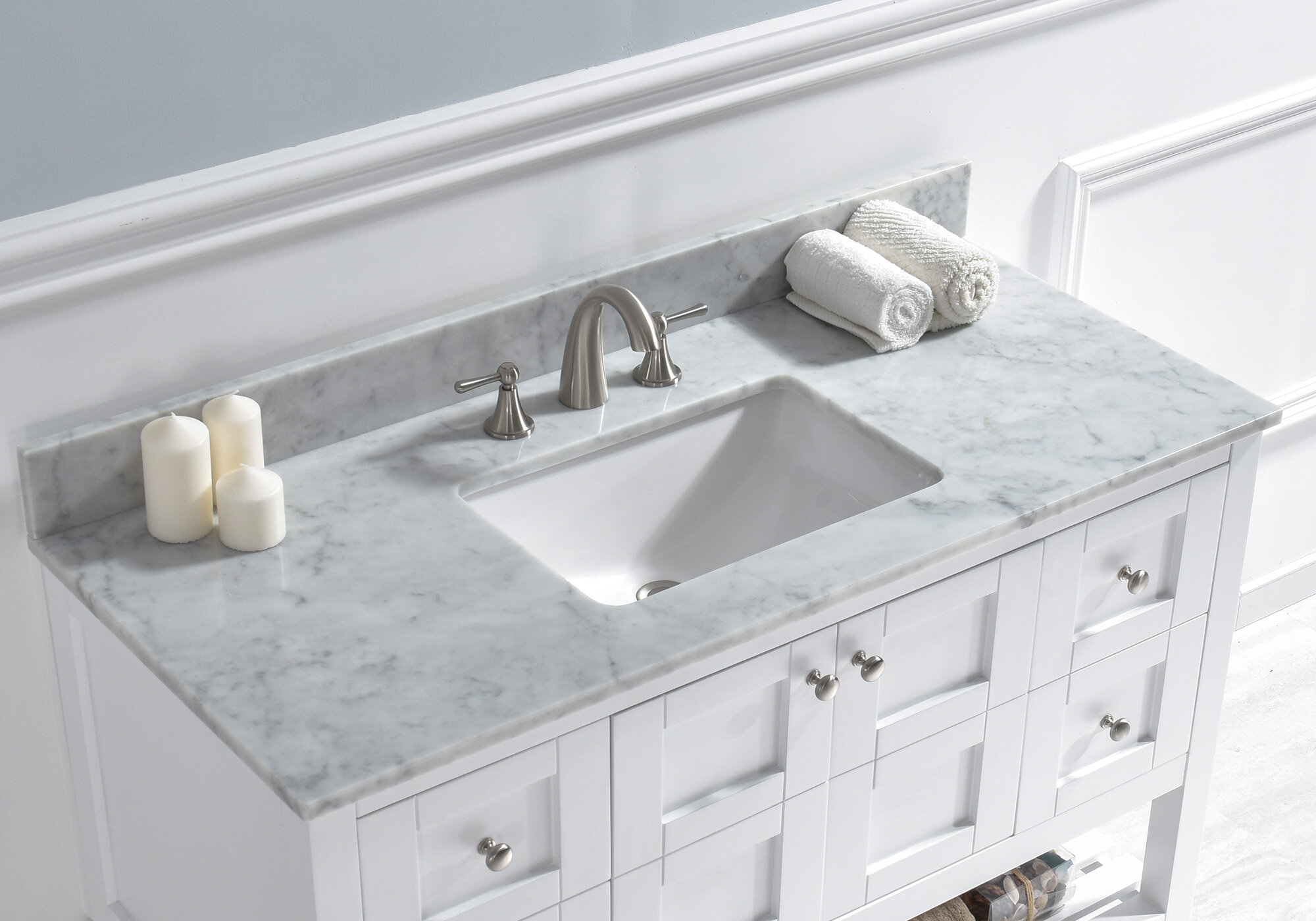 Woodbridge 48 Single Bathroom Vanity Top In Carra White With Sink Reviews Wayfair