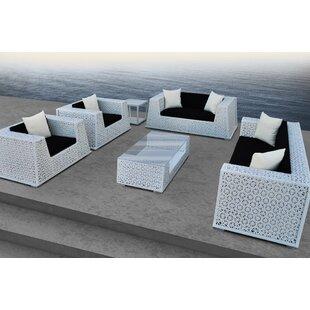 Solis Patio Nantucket 6 Piece Rattan Sofa Set with Cushions