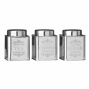 Chai 3 Piece Tea Coffee Sugar Stainless Steel Canister Set