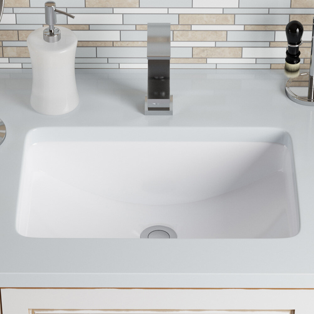 Mrdirect Vitreous China Rectangular Undermount Bathroom Sink With Overflow Reviews Wayfair