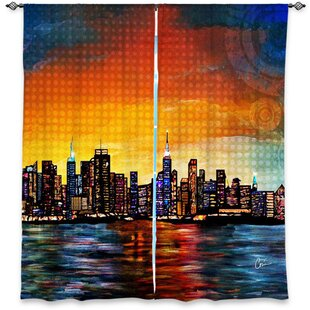 Jarmon Corina Bakke's Window New York Skyline Room Darkening Curtain Panels (Set of 2) by Latitude Run