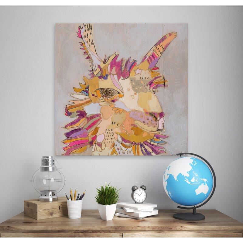Oopsy Daisy Purple Llama Stretched Canvas Art Wayfair