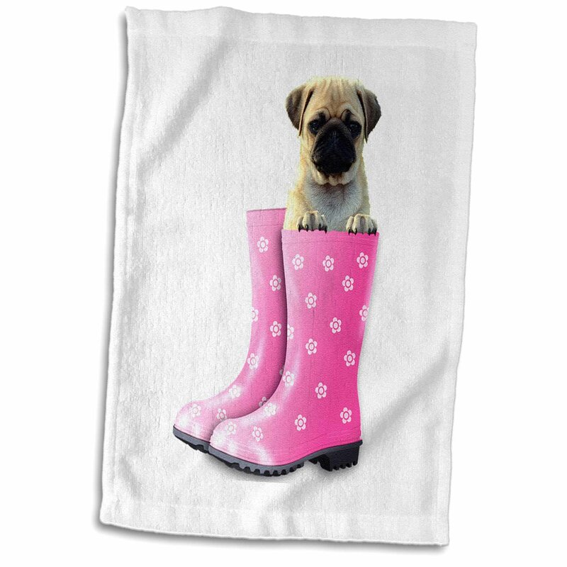 f0f5b082cdcd East Urban Home Ivy Image of Pug Puppy in Floral Boots Hand Towel ...