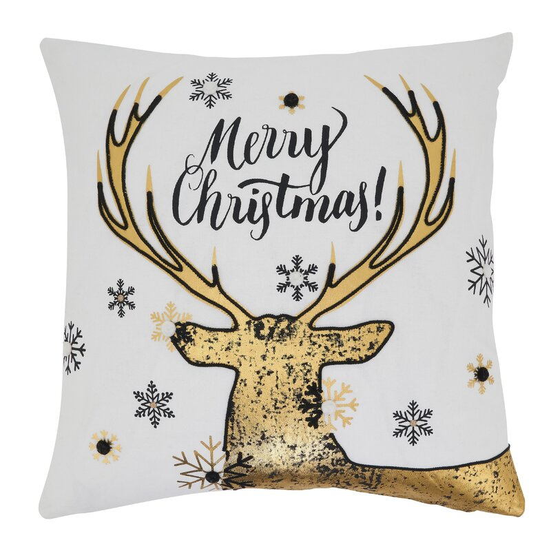 The Holiday Aisle Calix Merry Christmas Reindeer Design Square 100 Cotton Pillow Cover Insert Wayfair