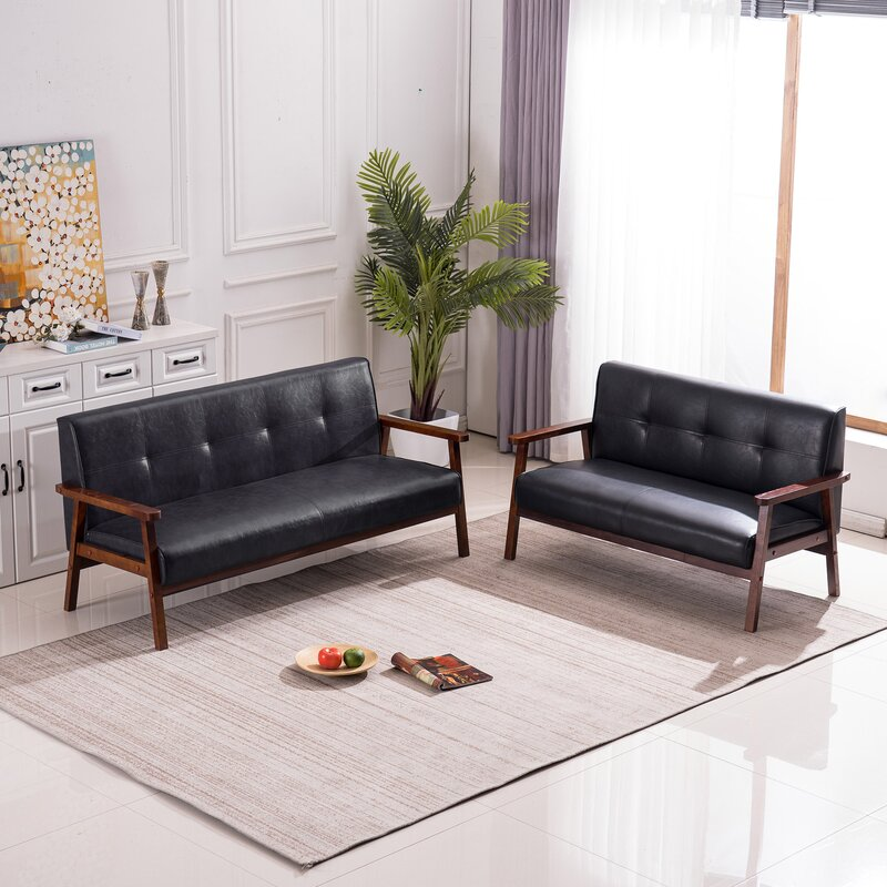George Oliver Chiana 2 Piece Faux Leather Living Room Set