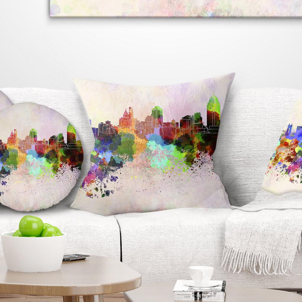 East Urban Home Cityscape Cincinnati Skyline Pillow Wayfair