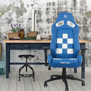 RapidX Finish Line on Back Checkered Flag Gaming Chair