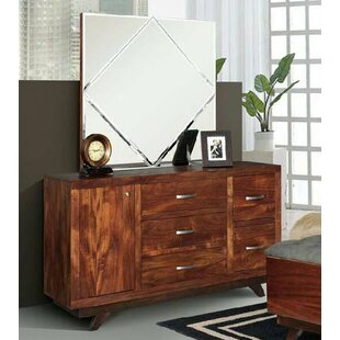 Aurora 5 Drawer Combo Dresser with Mirror by REZ Furniture