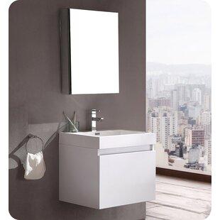 Compare prices Senza 24 Wall Mounted Single Bathroom Vanity Set with Mirror ByFresca
