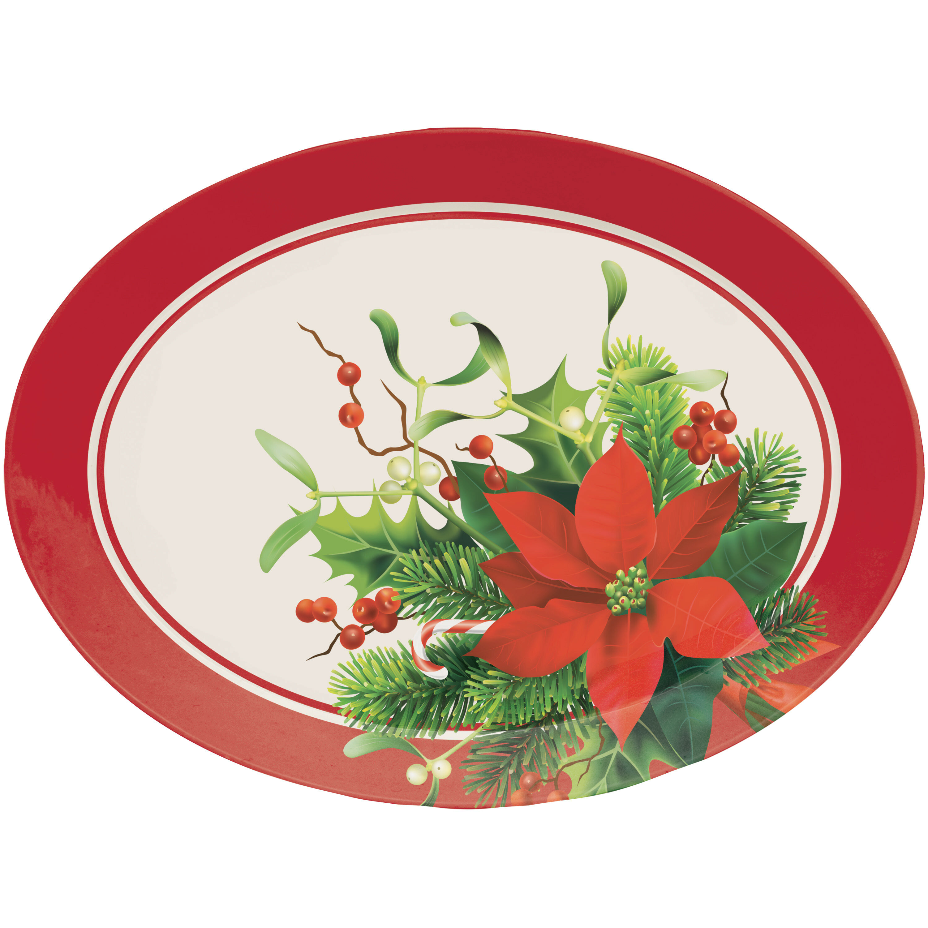 Creative Converting Christmas Poinsettia Oval Plastic Disposable