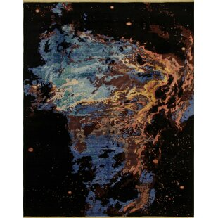 Top Reviews One-of-a-Kind Sandi Hand Knotted Black Abstract Area Rug By Isabelline