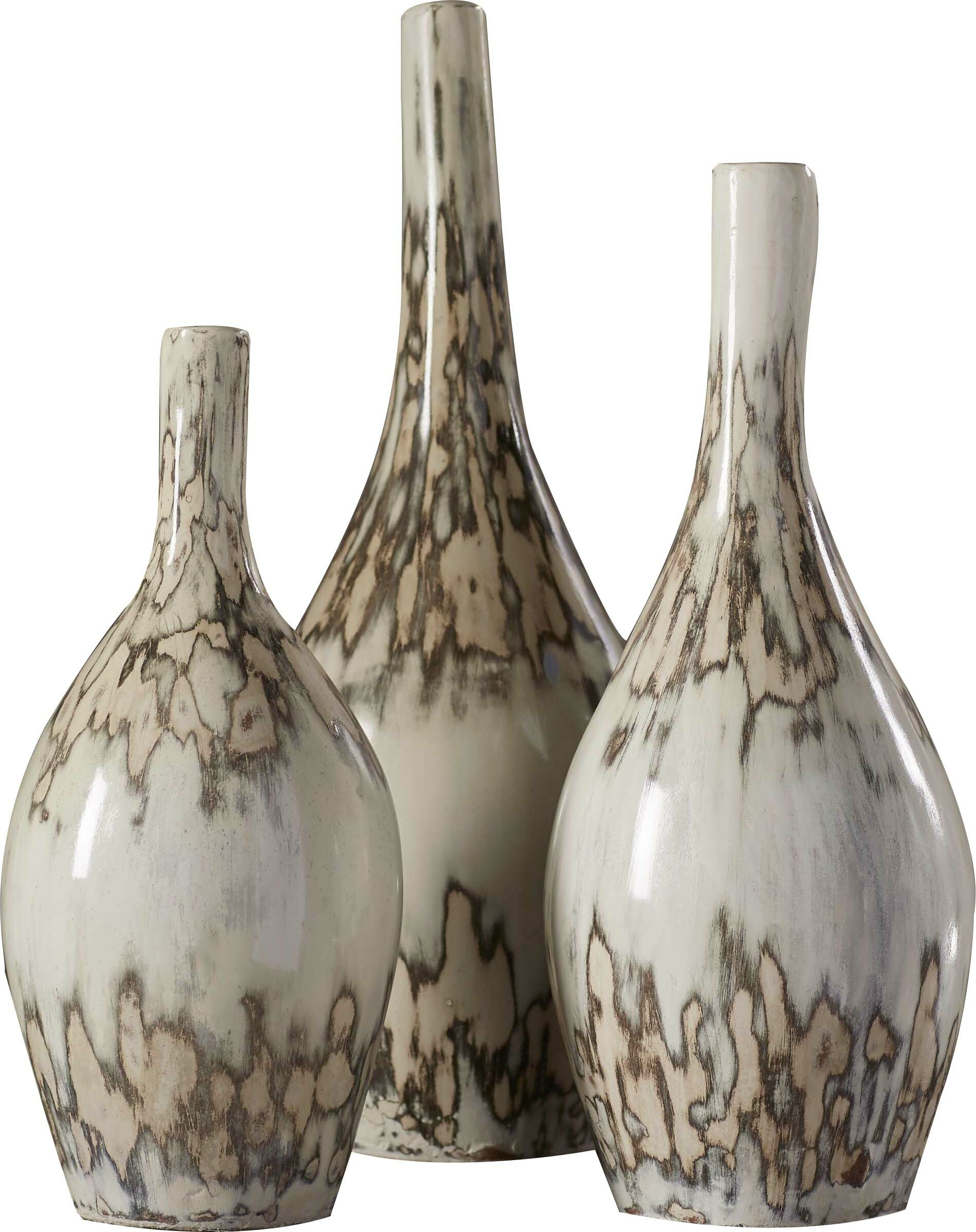 Mistana bud 3 piece pottery floor vases set reviews wayfair reviewsmspy