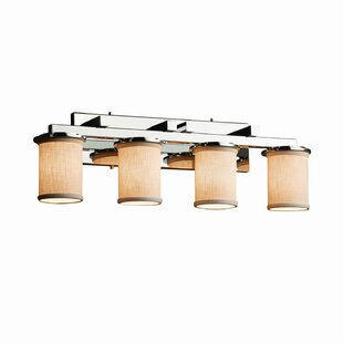 Best Price Red Hook 4 Light Cylinder Shade w/ Flat Rim Vanity Light By Latitude Run