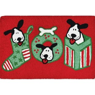 Espinosa Joyful Puppies Hand-Tufted Red/Green Indoor/Outdoor Area Rug