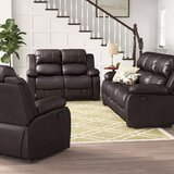 Maumee Reclining 3 Piece Leather Living Room Set by Red Barrel Studio®