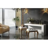 Lowder Vanity Set with Stool and Mirror by Everly Quinn