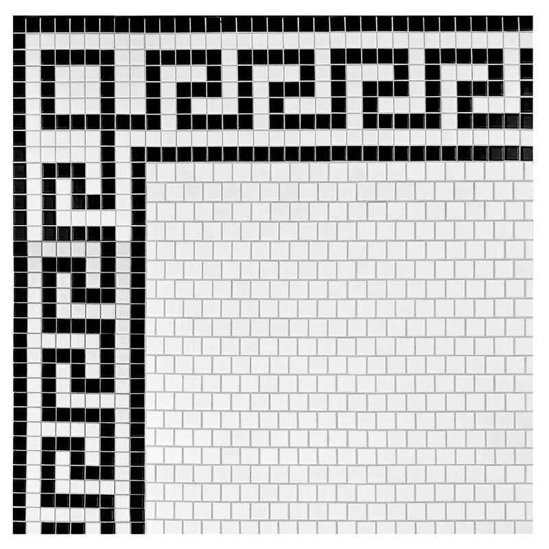 Retro Greek Key 0 81 X Porcelain Mosaic Tile In Matte White Black